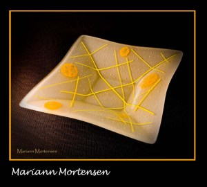 yellow fused glass plate
