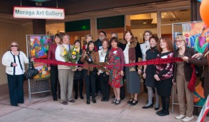 Ribbon cutting of Moraga Art Gallery's new location.