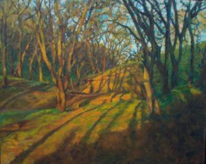 Painting of trees and long shadows