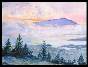 Watercolor by George Ehrenhaft: Mt. Tamalpais