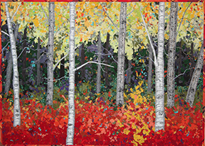 Pictoral quilt depicting a forest of aspens