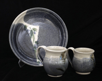 Ceramic plate and mugs by Elayne Isaacs