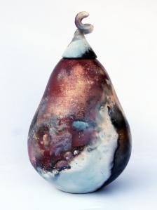 pit-fired lidded jar