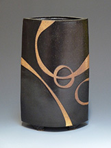 Black ceramic vase with design