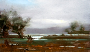 Tomales Bay Evening, painting by Carol Tarzier