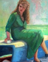 Lady in Green, painting by Lisa Gunn