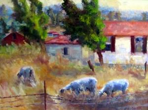 Petaluma sheep, painting by Lisa Gunn