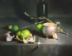Oil Painting-Silver, Garlic, and Lemons by Carol Tarzier