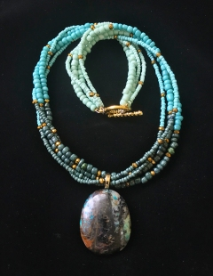 Multi-strand Turquoise necklace with pendant