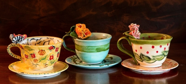 Whimsical, colorful porcelain teacups by Suzanne Pershing