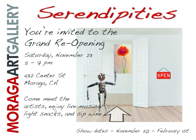 "Postcard for Moraga Art Gallery's Reopening Show ""Serendipities"